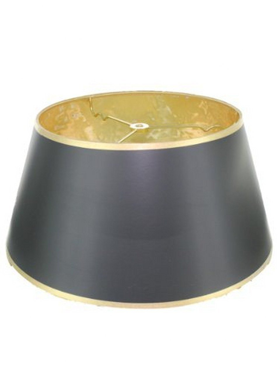 Upgradelights Black with Gold Shallow Oval 14 Inch Vintage Bouillotte Style Lampshade