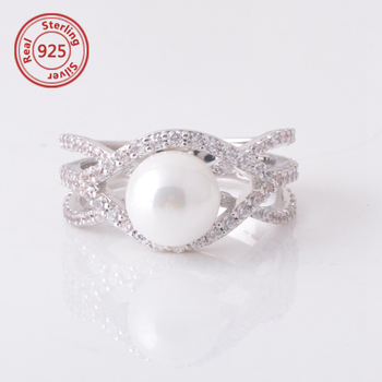 a28812a296a6 925 Plata Esterlina 18 K Goldd Anillo De Oro Blanco Perla - Buy ...