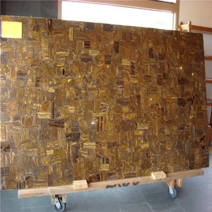 luxurious natural interior decor stone Tiger Skin Gold Gemstone Slab for wall decoration