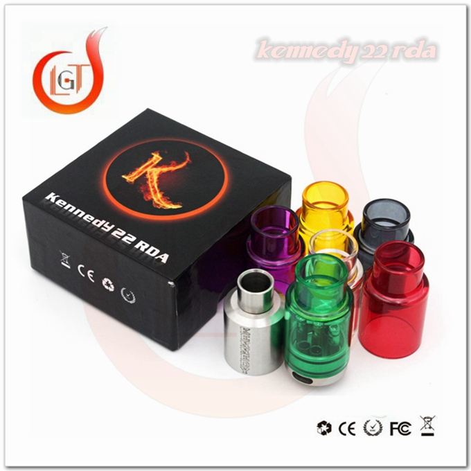 Alibaba express spanish wholesale price kennedy 22 RDA 18650 style vision update with glass tube rda ecig clone kennedy 22