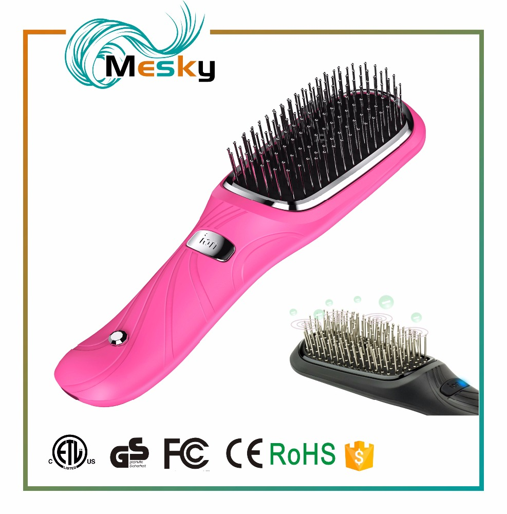 Professional mini electric fast hair straightener brush vibrator massage hair brush USB rechargeable design
