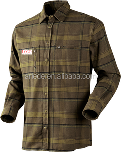 Men's classic style long sleeve cotton flannel shirt