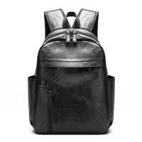 New Arrival Pu Leather Black Young Men Laptop Faux Leather Backpacks High Quality School Backpack