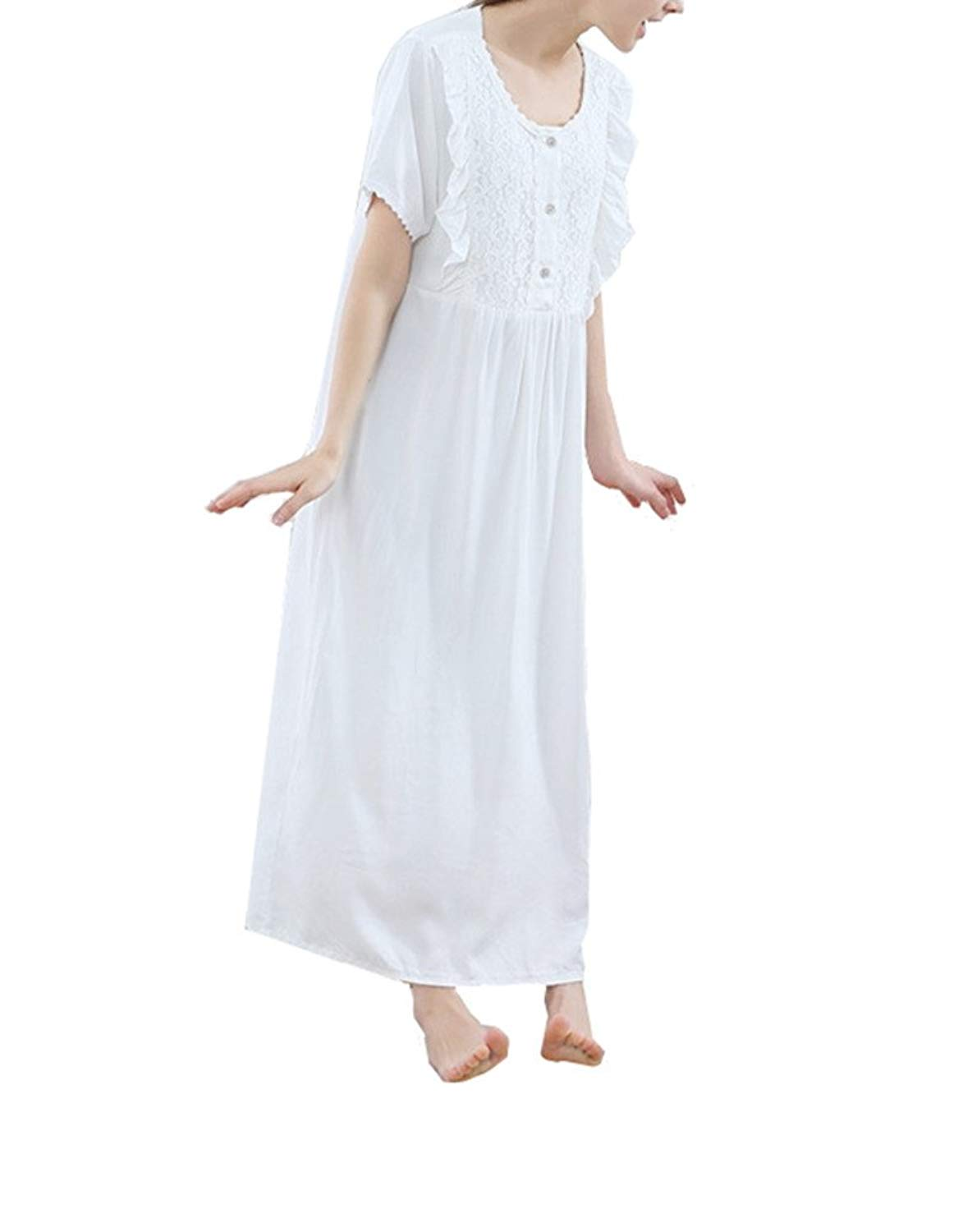 82fc7498fe Get Quotations · Womens Victorian Vintage Nightgown Short Sleeve Cotton  Sleepwear White