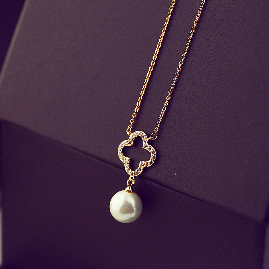 L830025 fashion jewelry pearl pendant necklace gold <strong>silver</strong> for wedding woman