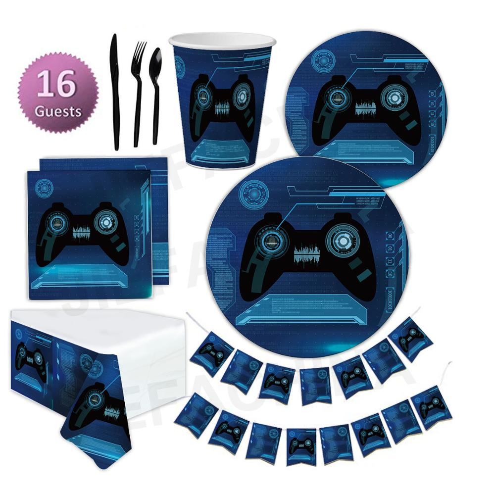 Customized Birthday Party Decorations Video Game Party Supplies Set