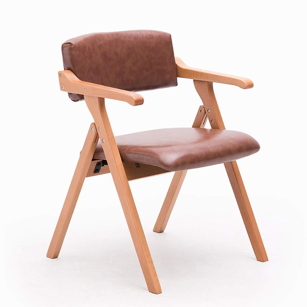 YXWyz Folding Tables Solid wood dining chair Nordic minimalist creative with arm folding chair desk chair conference chair leisure chair (a variety of colors can choose) Reception Chairs (Color : B)