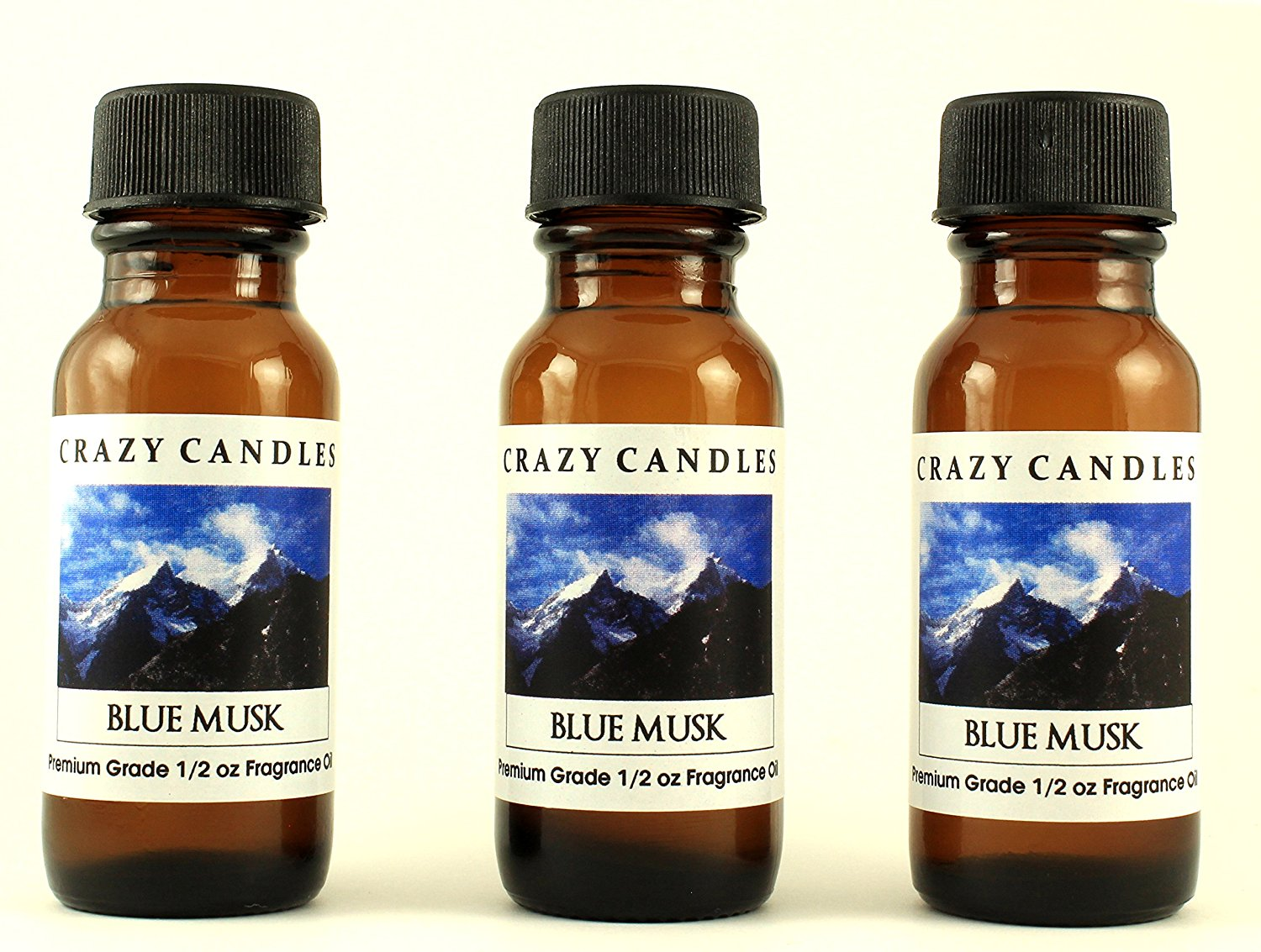 Blue Musk 3 Bottles 1/2 Fl Oz Each (15ml) Premium Grade Scented Fragrance Oil By Crazy Candles (A Crisp and Clean Scent)