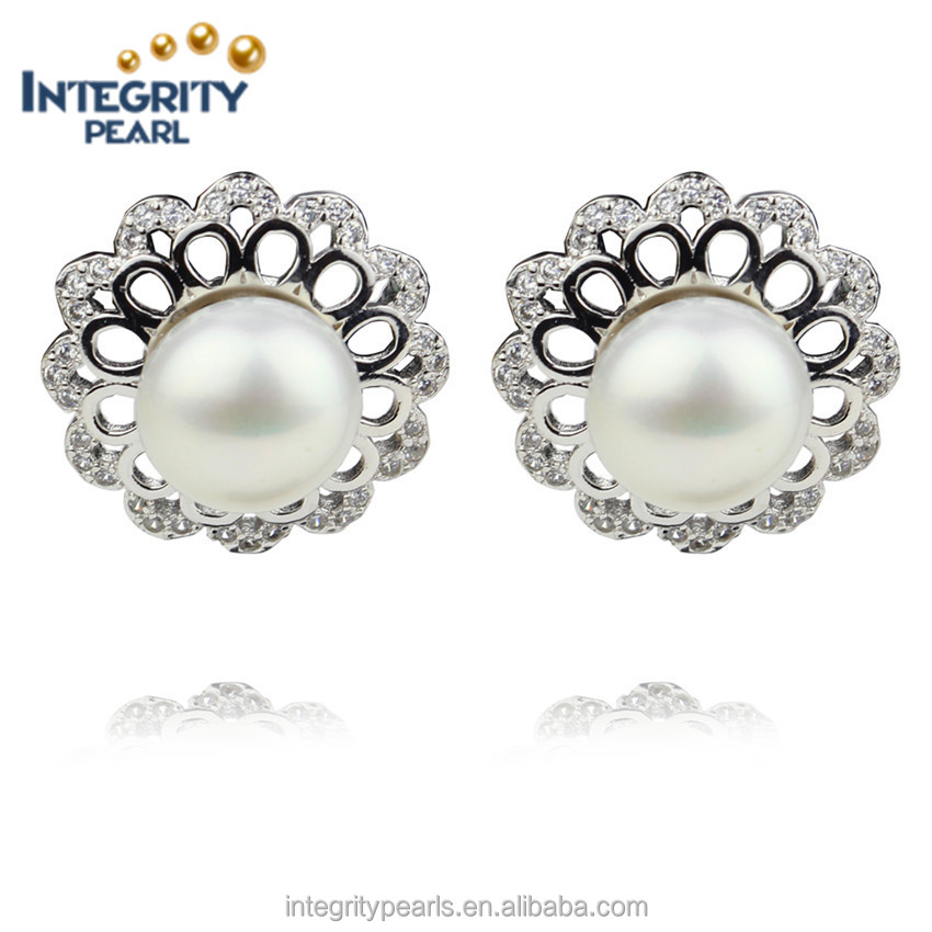 AAA 9mm freshwater pearl high quality 925 sterling silver fine jewelry