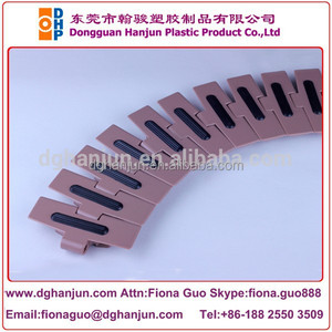 High friction flat top inserts radius running plastic conveyor chain /rubber top conveyor chains