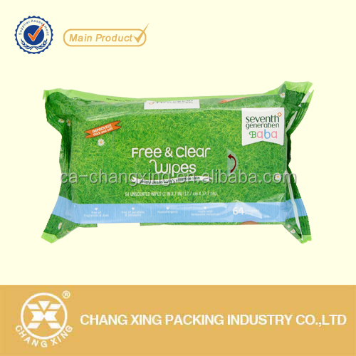 High barrier aluminum foil plastic pouch for wet wipes(customized metallized bag)