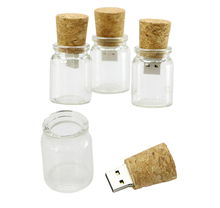 Unieke Wens Fles Glas Houten <span class=keywords><strong>USB</strong></span> 2.0 Flash Pen Drive voor bruiloft giveaways 4 GB 8 GB 16 GB