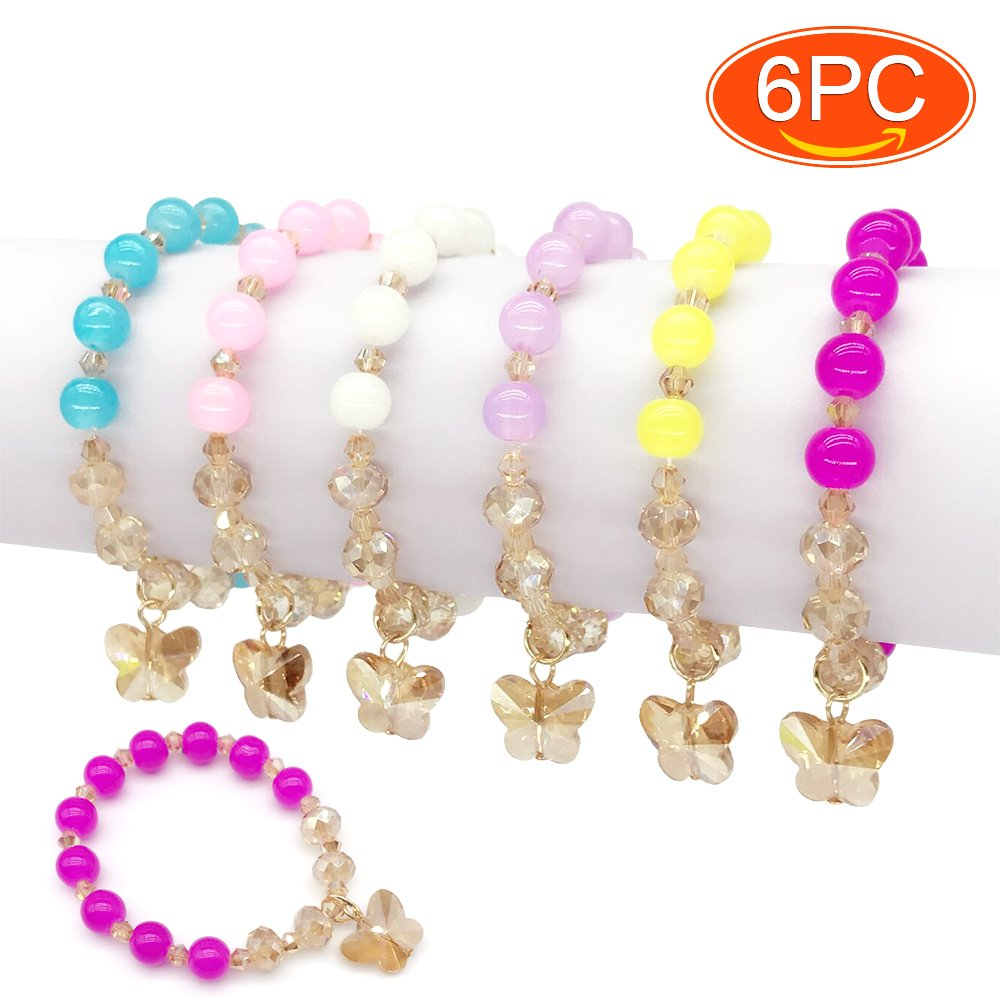 Elesa Miracle 6pc Little Girl Teens Kids Butterfly Pendant Beaded Bracelet Value Set Kids Girl Party Favor Pretend Play Bracelet