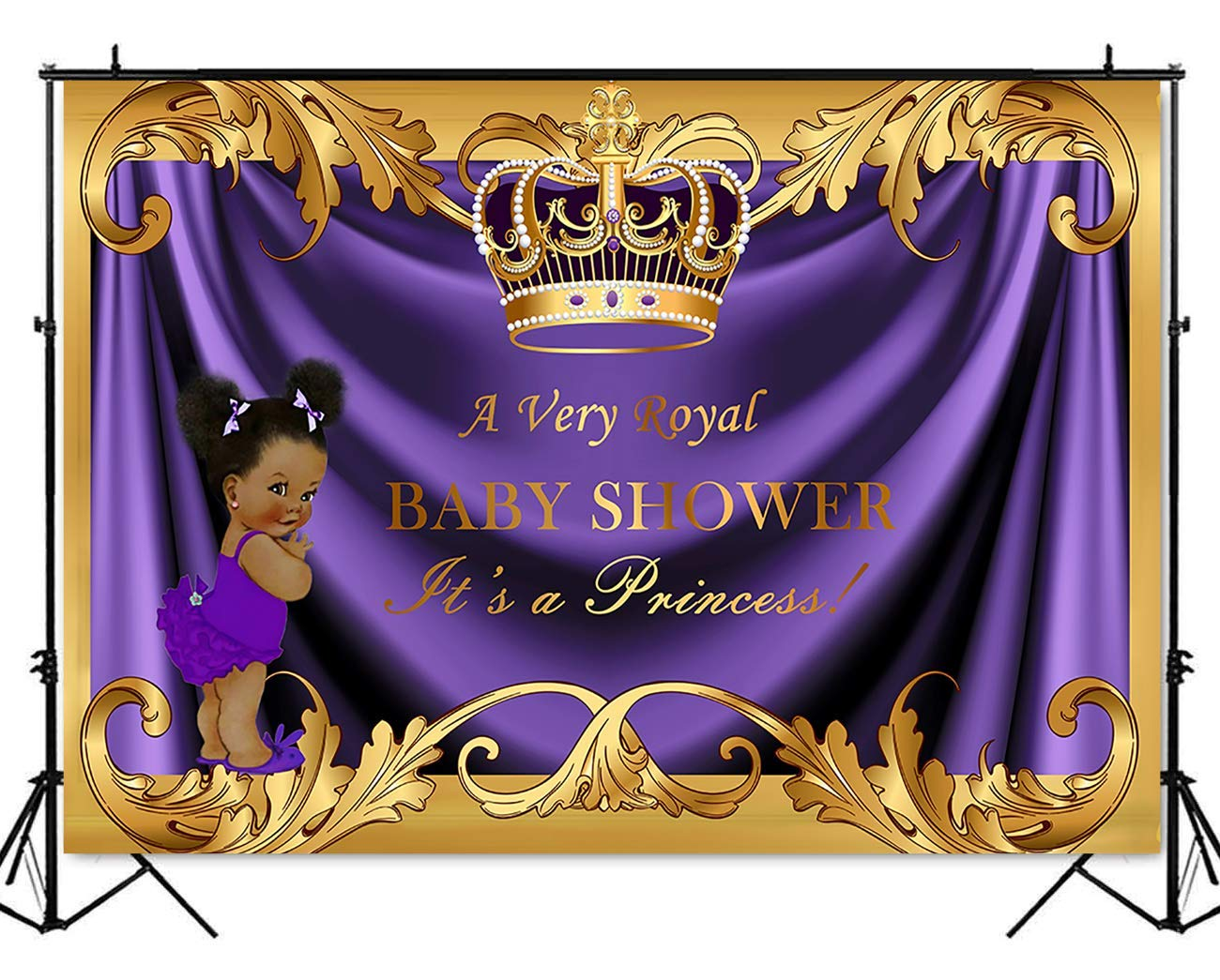 Mehofoto Royal Baby Shower Backdrop Little Girl Princess Purple Gold Photography Background 7x5ft Poly Cotton Royal Baby Shower Party Banner Backdrops