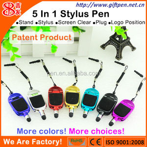 Patented Product 5 in 1 Stylus Pen stylus with stand lanyard 3.5mm plug screen cleaner logo position
