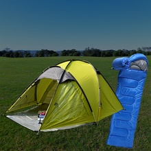 Supply double layers camping tents with sleeping bags in bundle