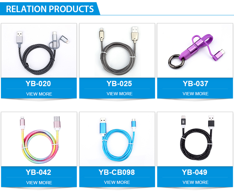 Mobile Phone 3 in 1 Keychain Micro Type C 8 Pin Charging Data Cable
