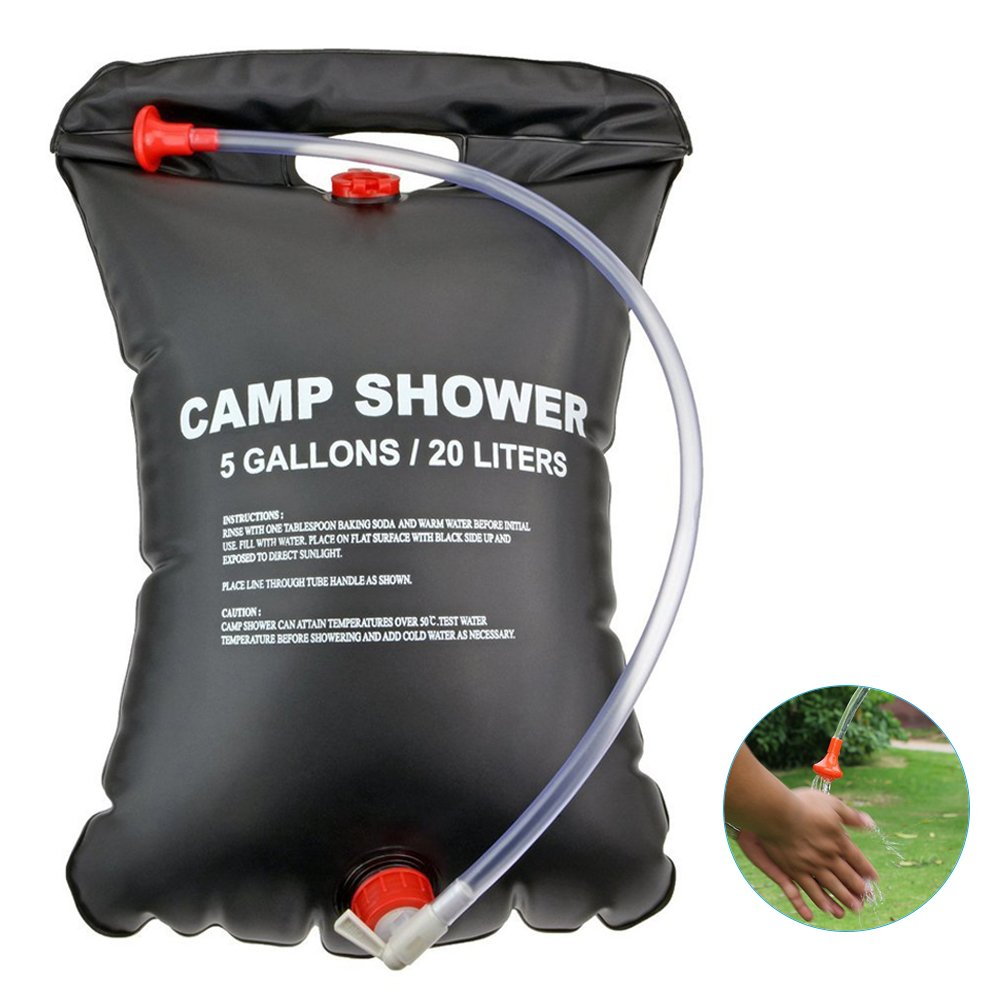 iDeep Camping Shower Bag, 20L/5 Gallons Portable Shower PVC Water Bag Camping Water Bathing Bag with On/Off Nozzle Outdoor Shower Bag include Storage Box for Outdoor Hiking Climbing Wash Car