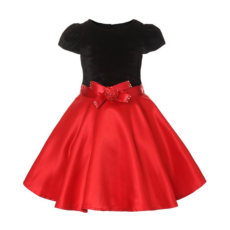Robe rouge et noire fille