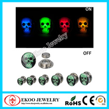 316L Surgical Steel Sugar Skull Logo Light Up Screw Fit LED Ear Plug Body Piercing
