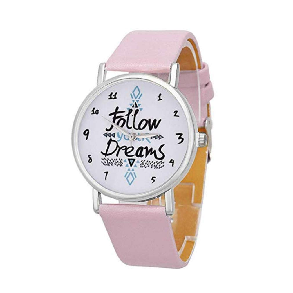 Womens Quartz Watches,Windoson Unique Analog Fashion Clearance Lady Watches Female Watches Casual Wrist Watches for Women,Round Dial Case Comfortable PU Leather Watch (Pink)