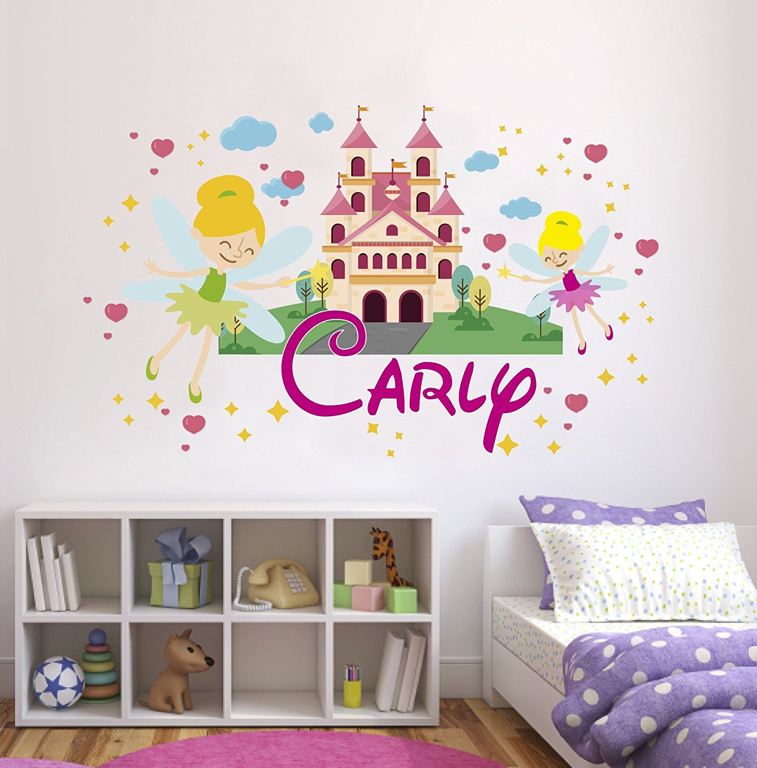 "Custom Name Tinkerbell Castle - Personalized Name Girl Mural - Baby's Mural Room Vinyl Sticker Wall Decal (Wide 50"" x 40"" Height)"