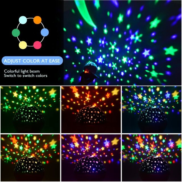 2019 Lamp Night Light Newest Mini Led Night Light Led Lighting Lamp Rotating Remote Control  Christmas Star Night Projector