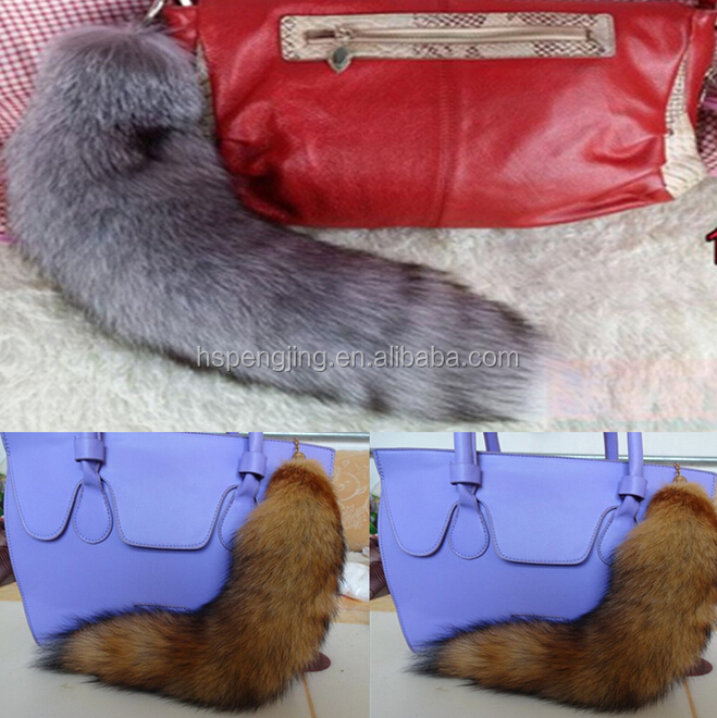 2016 hot-selling fox tail (really natural fox fur) use for bag hanging or keychain