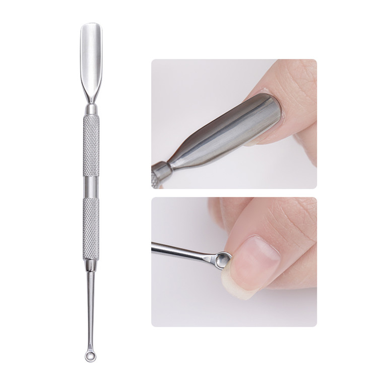 Nail Art Wholesale Manicure Supplies Stock Quantity Stainless Steel Double Ended Cuticle Remover Pusher Cuticle Nail Pusher