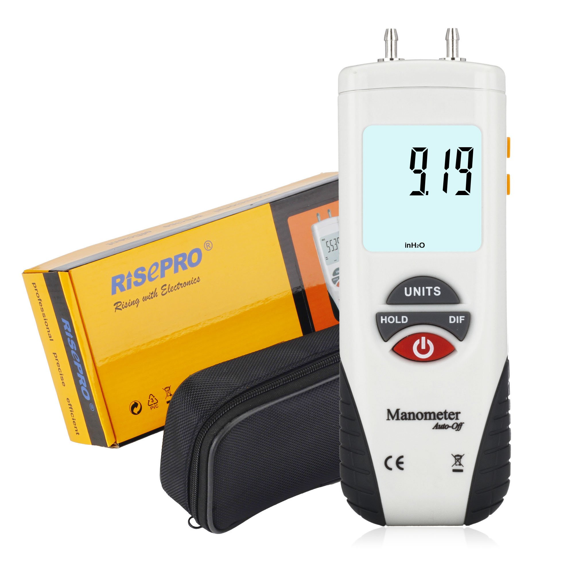 FOSHIO FT168 Digital Manometer Air Pressure Meter HVAC Gas Pressure Tester with Large LCD Display