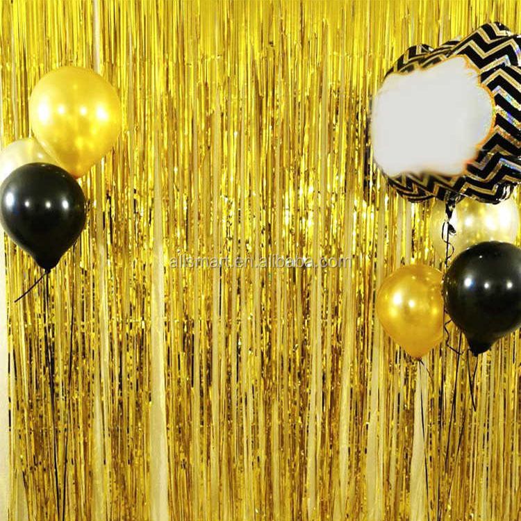 3ft x 13ft Metallic Fringe Foil Curtain Party Tinsel Backdrop for Photo Shooting Room Wedding Decoration Event Party