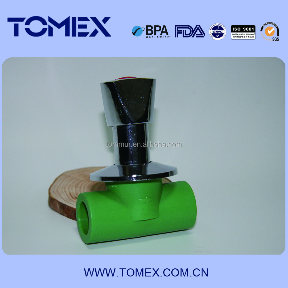 2015 ppr pipe and fittings green plastic ppr water stop valve