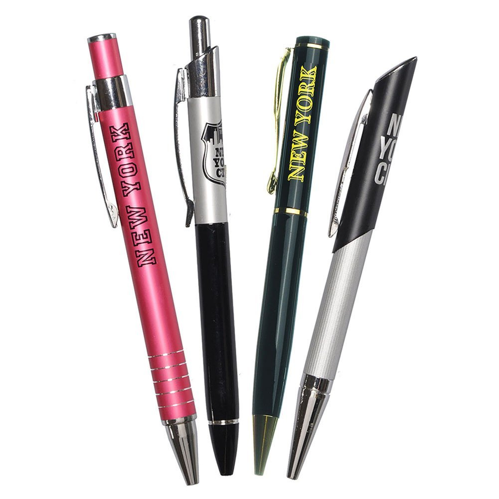 4X Various Unique Designs Ultimate Collectible New York City Metal Ballpoint Pen NYC Gift Pen NY Souvenir Pens - Pack of 4