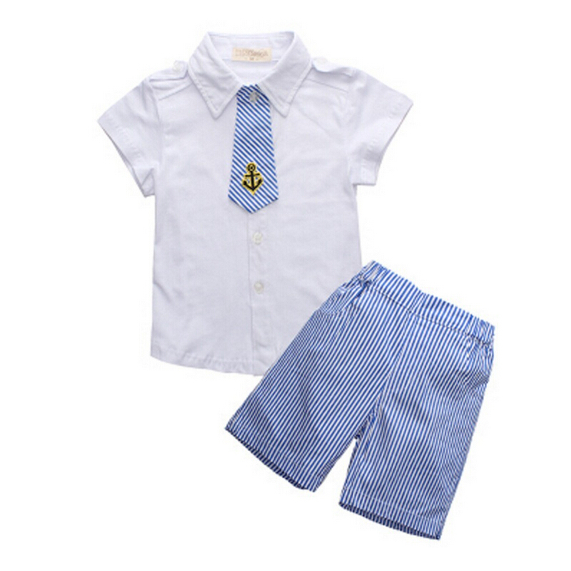 2015 New Hot Baby Boy Clothing Set Children T Shirts+ Striped Shorts Kids Clothes Boys Roupas Infantis Menina Retail Summer