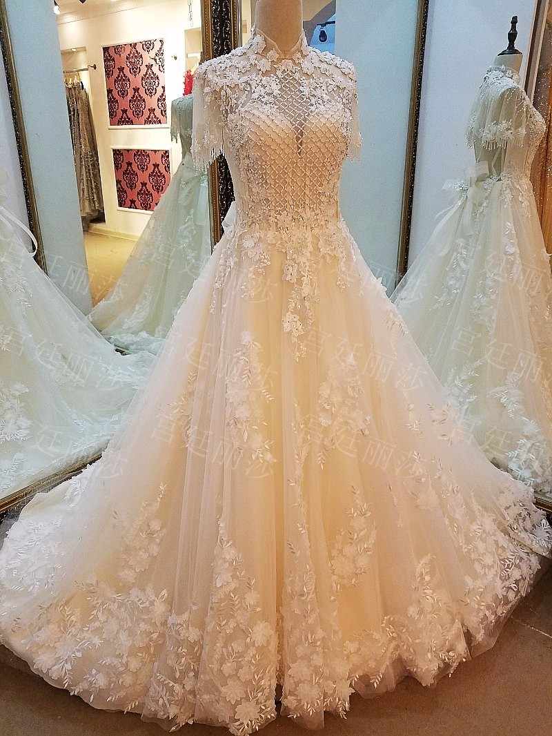 Ls54976 High-neck Short Sleeves Beaded Bridal Motifs Dress Champagne ...