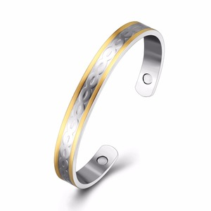 ATHENAA Wholesale Fashion Jewelry 18k Gold Plated Bangles Models Magnetic Copper Bracelet Bangle