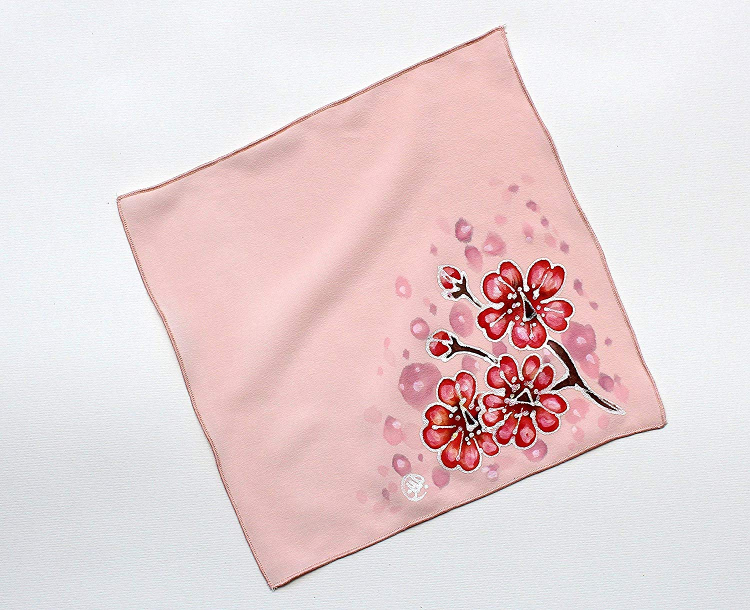SALE!!!15% OFF/Cherry Blossom Silk Pocket Square Women/Hand Painted Silk Pocket Square/Great as a pocket square or Silk/Handkerchief for Men or Women/Handkerchief/Womens silk hankie,size 9.84/9.84 in.
