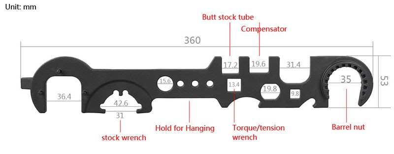 tactical rifle gun accessories Steel Armorer's Wrench for Removal and Installation for hunting