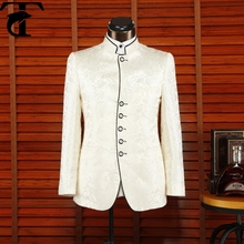 Top marca de pie hombres de cuello chino tradicional wedding suit