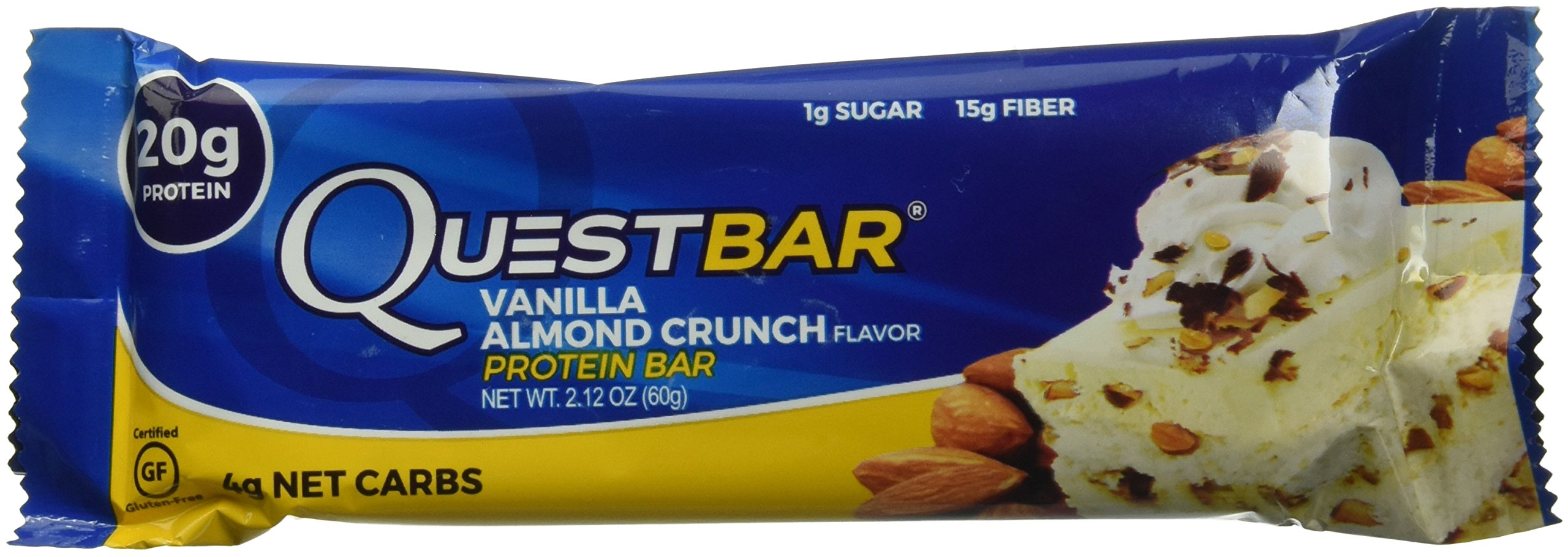 Quest Nutrition Protein Bar, Vanilla Almond Crunch, 20g Protein, 4g Net Carbs, 200 Cals, 2.1oz Bar, 1 Count, High Protein, Low Carb, Gluten Free, Soy Free