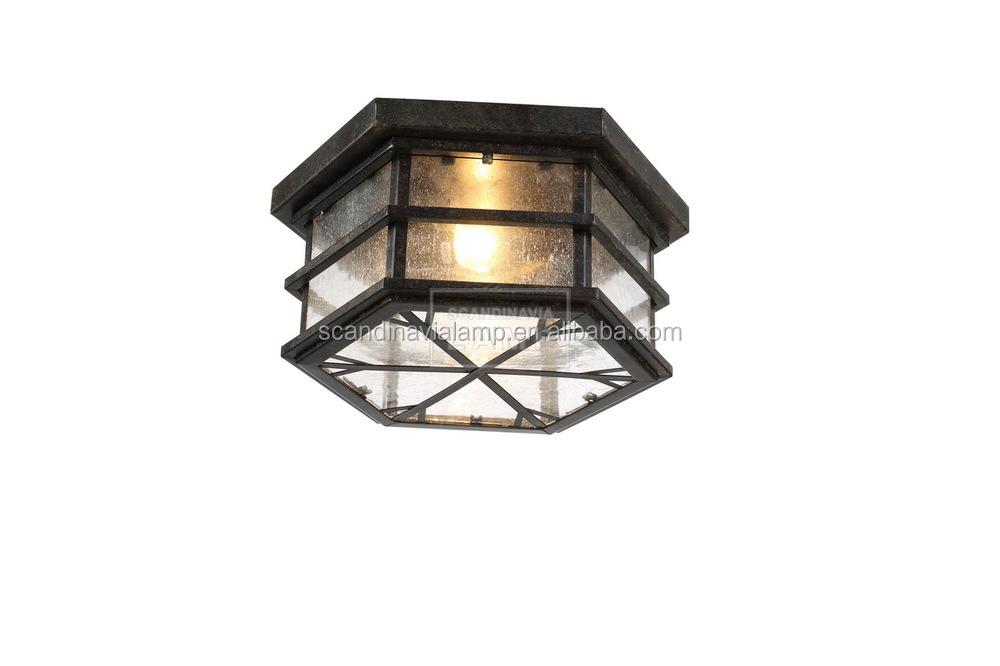 Nostalgic Glass Box Droplight Iron Hexagonal Shade Pendant Light ...
