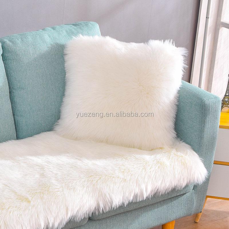 Soft Gy Fake Fur Sofa Throw Cushion
