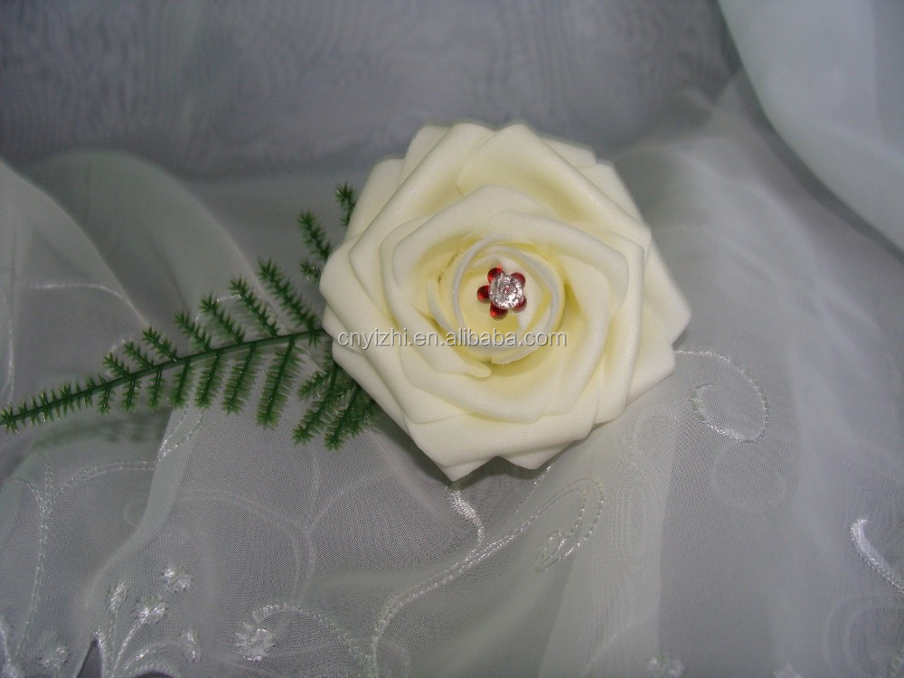Single white foam flower rose corsage different color crystal single white foam flower rose corsage different color crystal centers artificial rose rose corsage with fern leaf and pin buy single white foam flower mightylinksfo