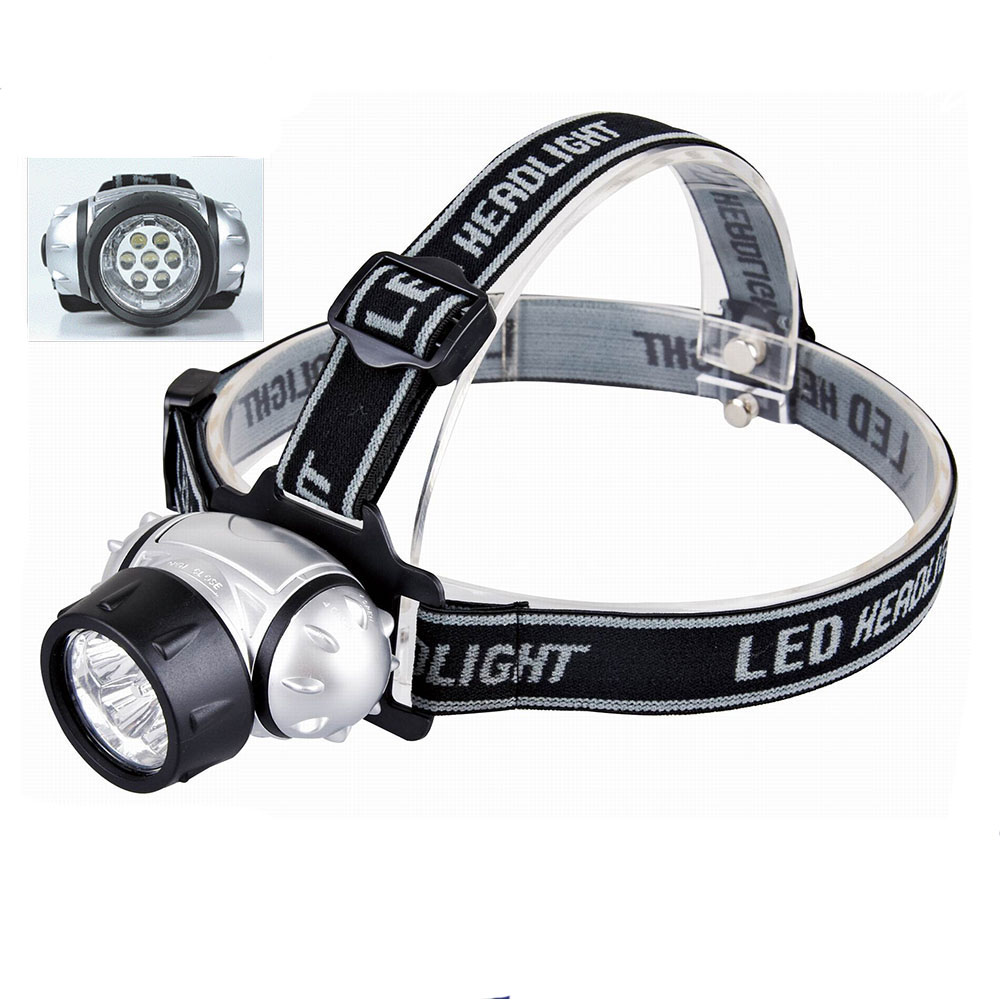 Plastic 7LED Flashlight Torch 2 Modes Headlamp for Camping