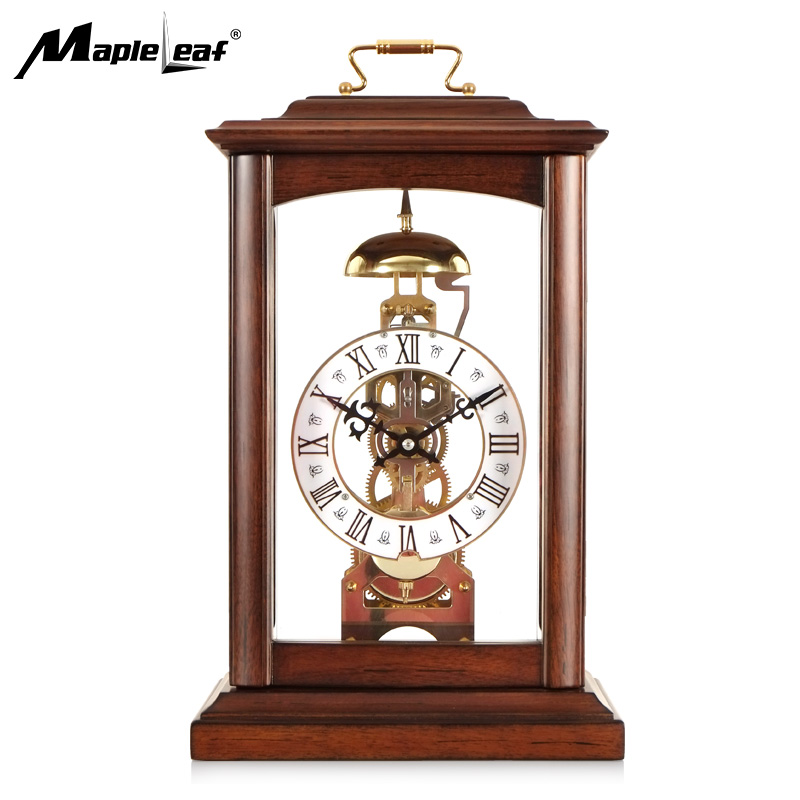 High Quality No Battery Operated Retro Mechanical Pendulum Clock Skeleton Table & Desk Clock with Solid Wood Frame