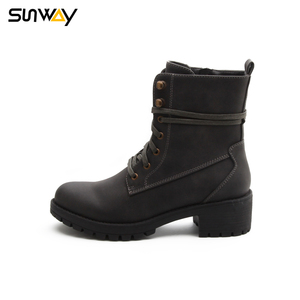 SUNWAY Wholesale High Quality Waxed Lace Inner Zipper Women Casual Flat Ankle Shoes Boots