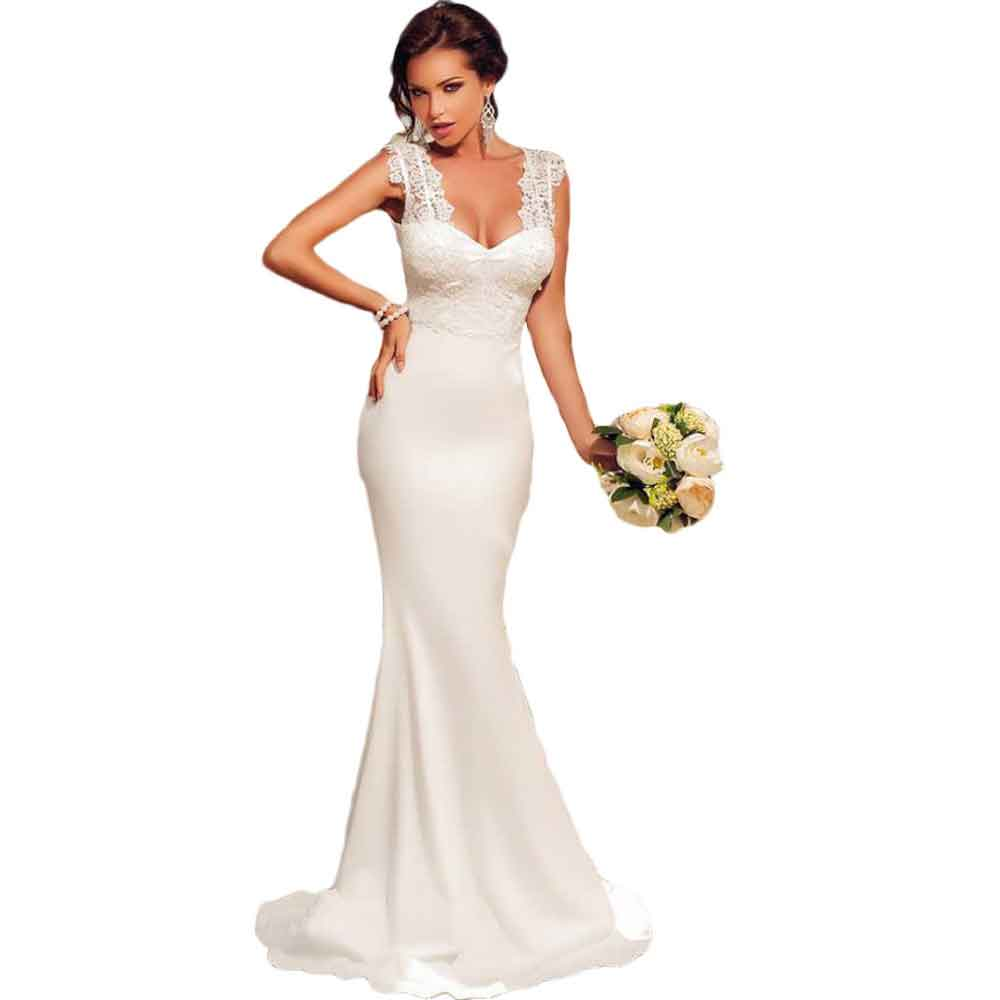 White Embroidered Lace Elegant Maxi Dress LC60632 formal ...