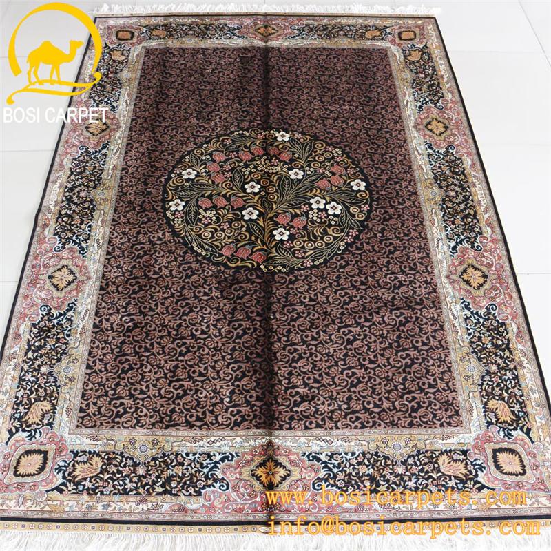 gallery of x ft zone tapis de soie turque la main fleur forme fonc couleur grammy rouge pas cher. Black Bedroom Furniture Sets. Home Design Ideas