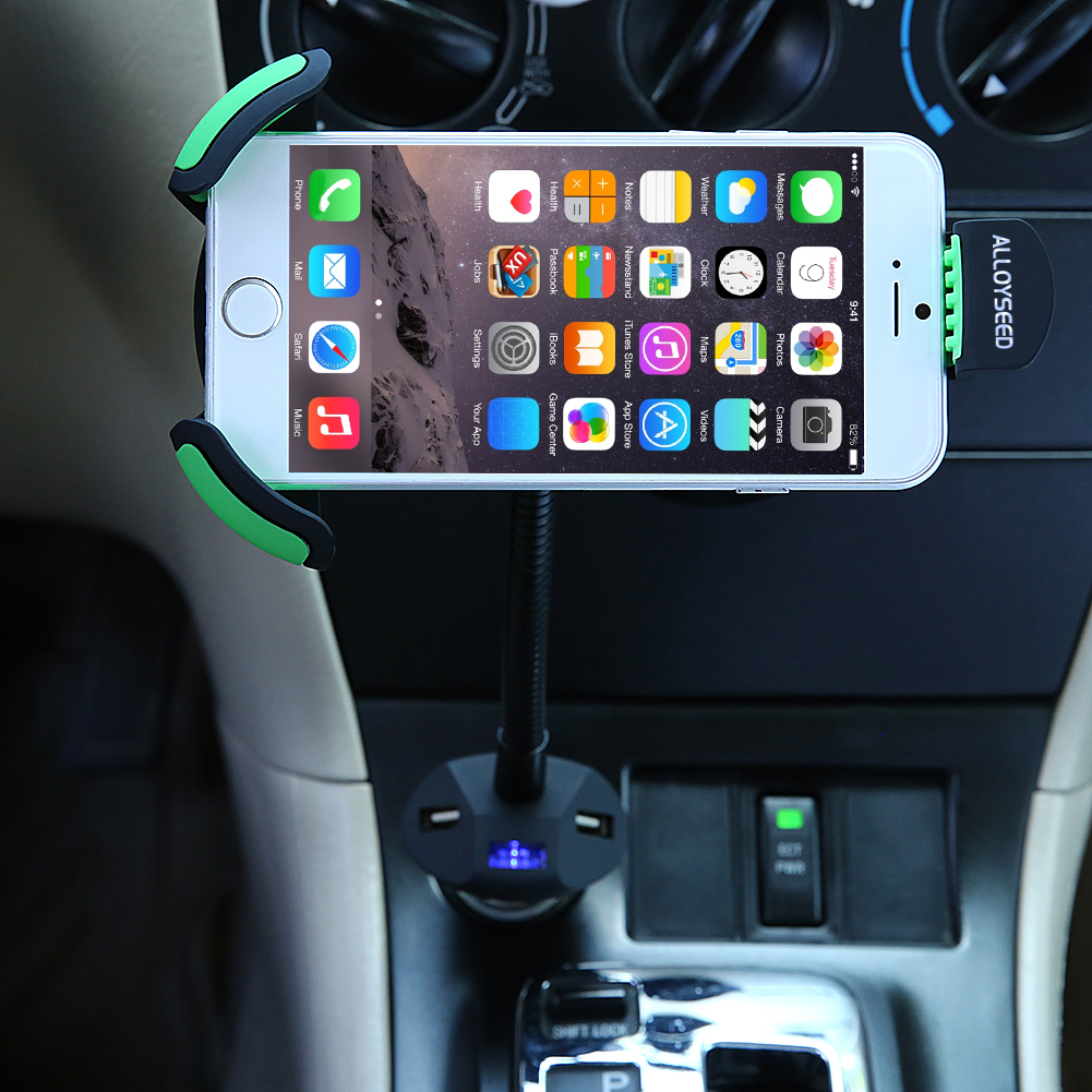 Car Phone Holder Stand with 3 USB Port Quick Car-Charger Cigarette Lighter  Flexible Gooseneck Support Mount for 3 5-6 3 Mobile