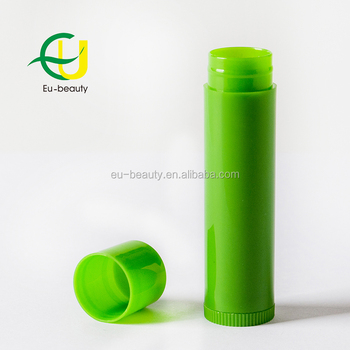 5g empty green lip balm tube cylinder shape lipstick container